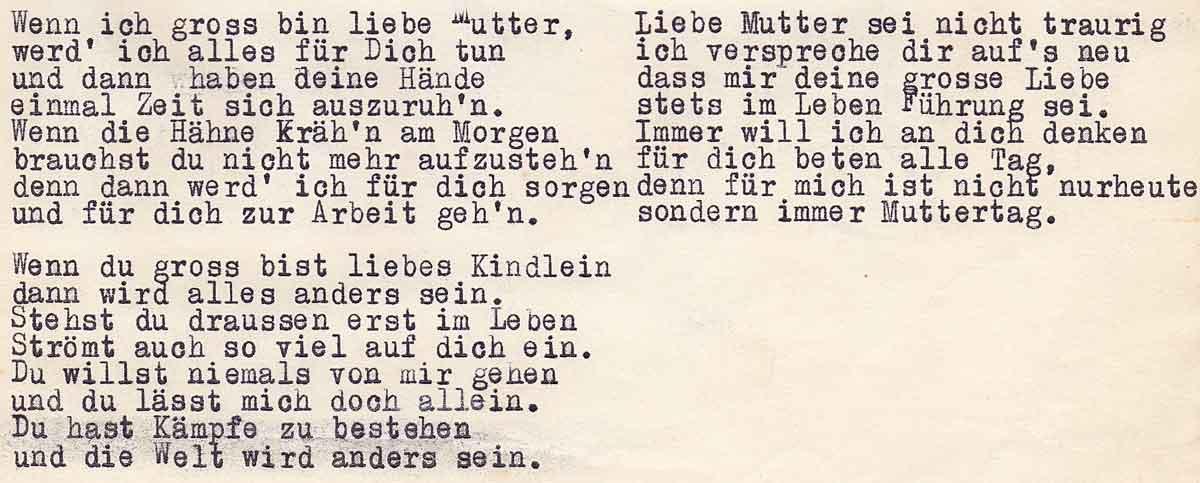 MUTTERTAG 1955_Wenn du gross bist liebes Kindlein