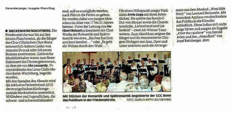 General Anzeiger Rhein-Sieg_Kritik Konzert Meckenheim