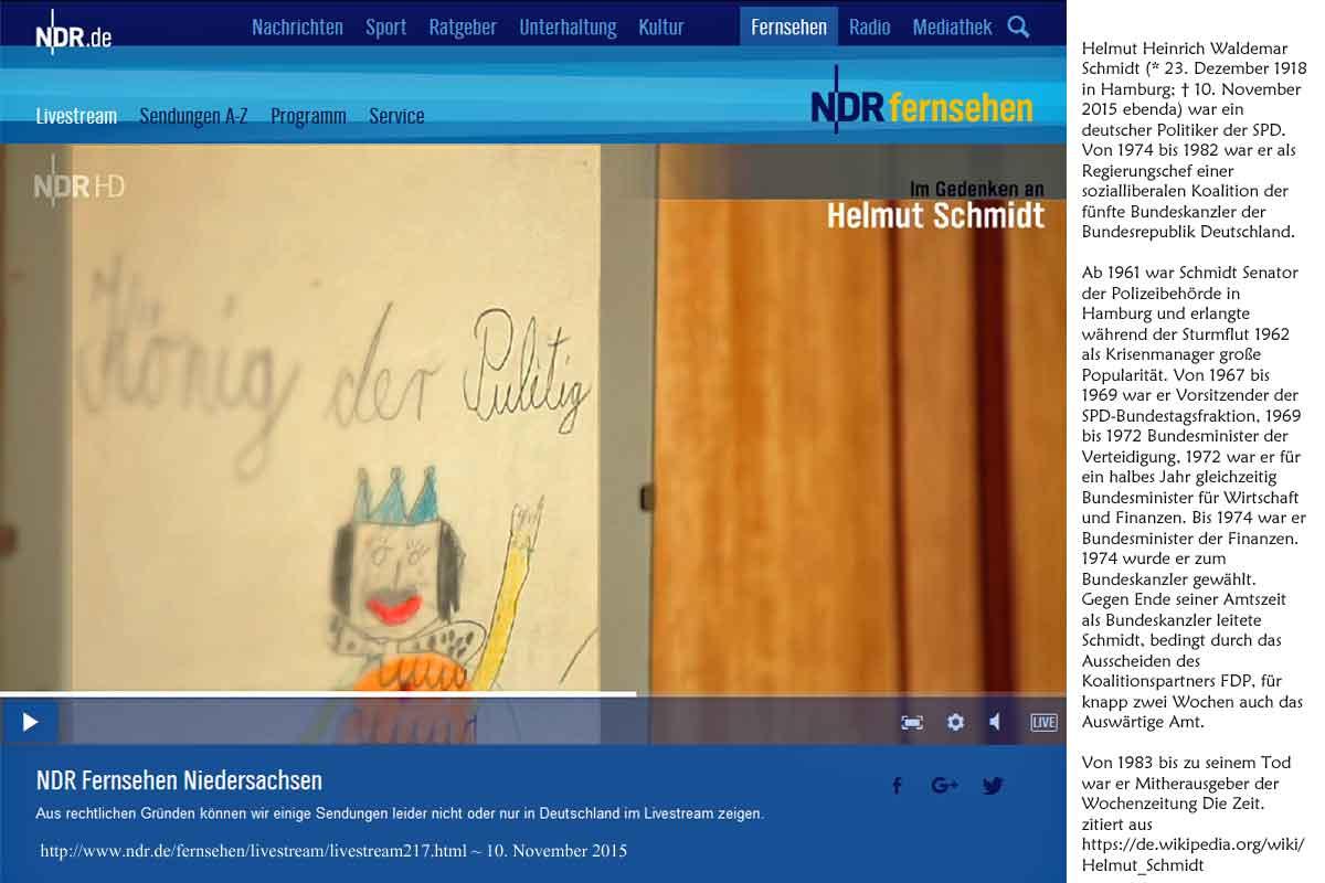 König der Pulitig - Helmut Schmidt - gestorben 20151011