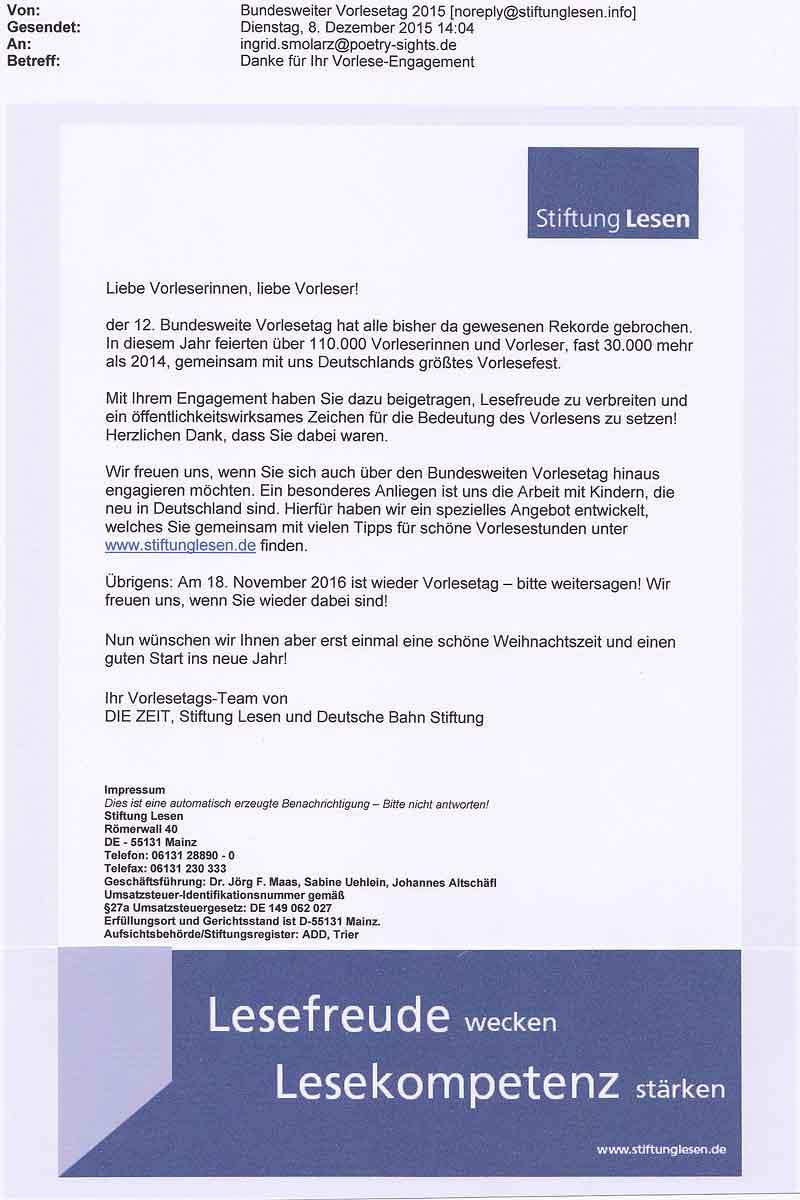 Stiftung Lesen_Dank für Teilnahme als Vorleserin_20151120