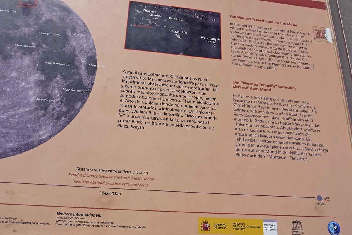 Montes de Tenerife - Bergnamen auf dem Mond