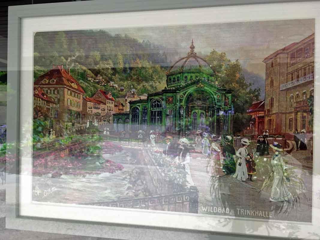 Trinkhalle Bad Wildbad 1878 bis 1959 ~ Gemälde in einem Schaufenster im Kurpark