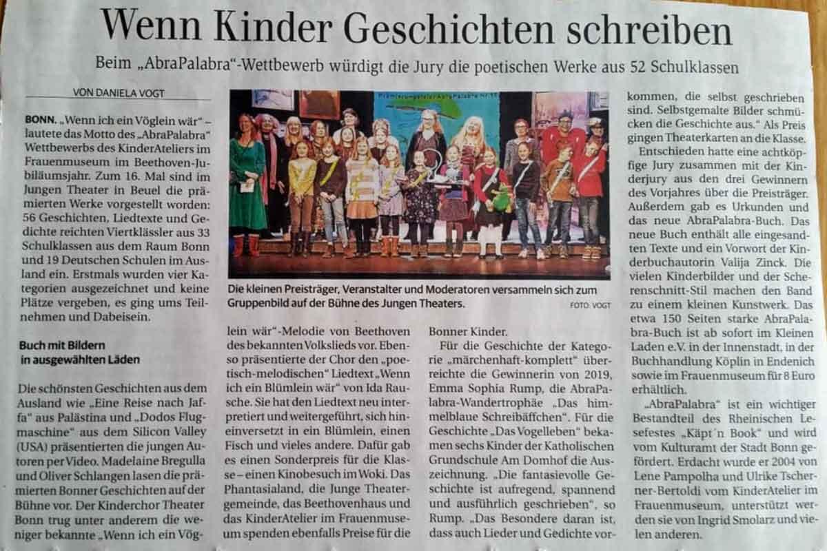General-Anzeiger Bonn_Wenn Kinder Geschichten schreiben_20200217