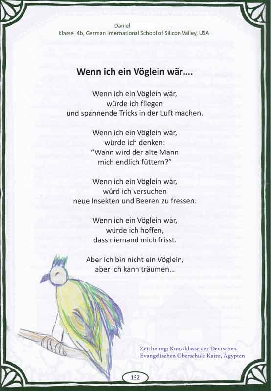 Wenn ich ein Vöglein wär - Gedicht von Daniel - Klasse 4b - German International School of Silicon Valley - USA