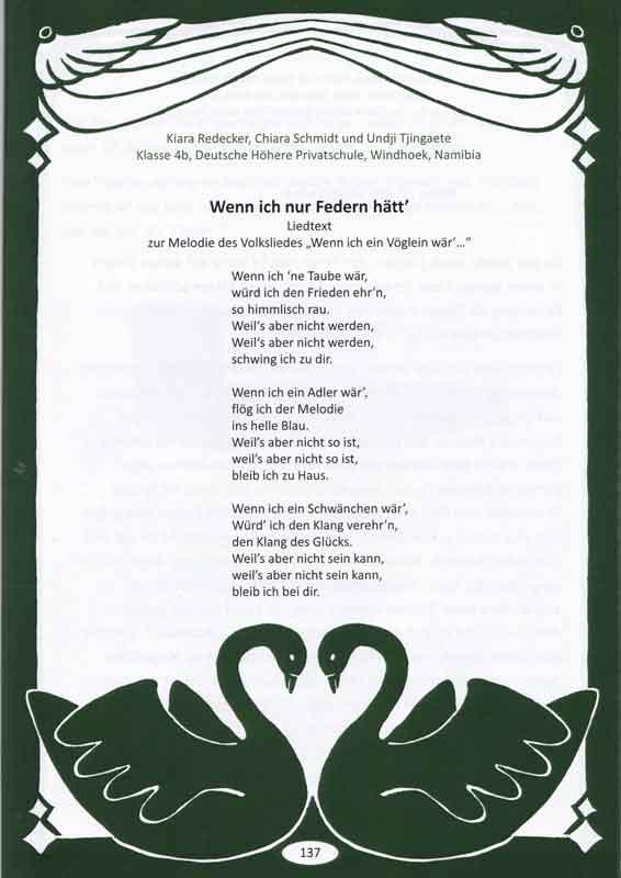 Wenn ich nur Federn hätt´_Liedtext_Klara - Chiara - Undji_Klasse 4b_Deutsche Höhere Privatschule_Windhoek - Namibia