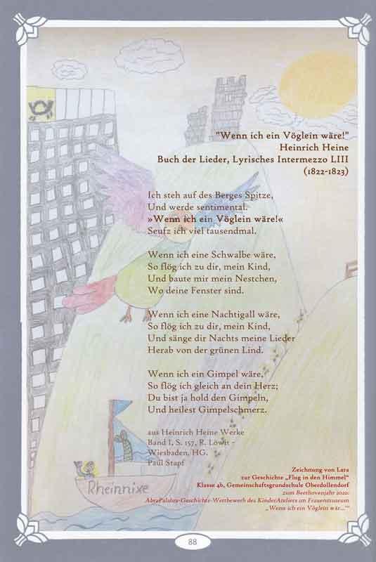 Zeichnung von Lara zu Flug in den Himmel_GGS Oberdollendorf 4b_Bonn_mit Heine-Text